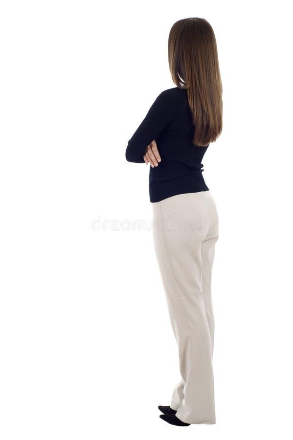Geschäftsfrau von der Rückseite lizenzfreie stockfotos