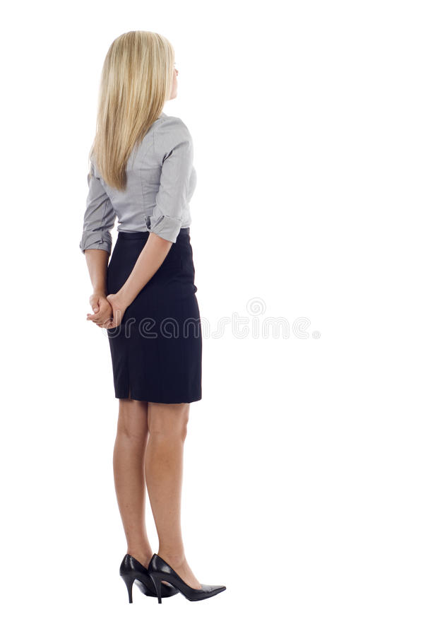 Geschäftsfrau von der Rückseite stockbild