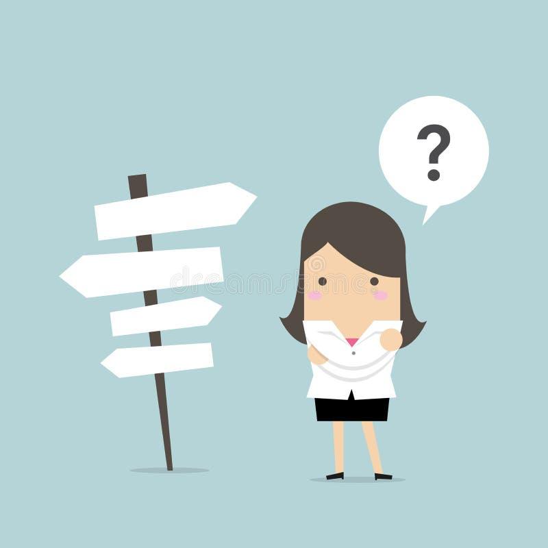 Geschäftsfrau vor einer Wahl der Weise vektor abbildung