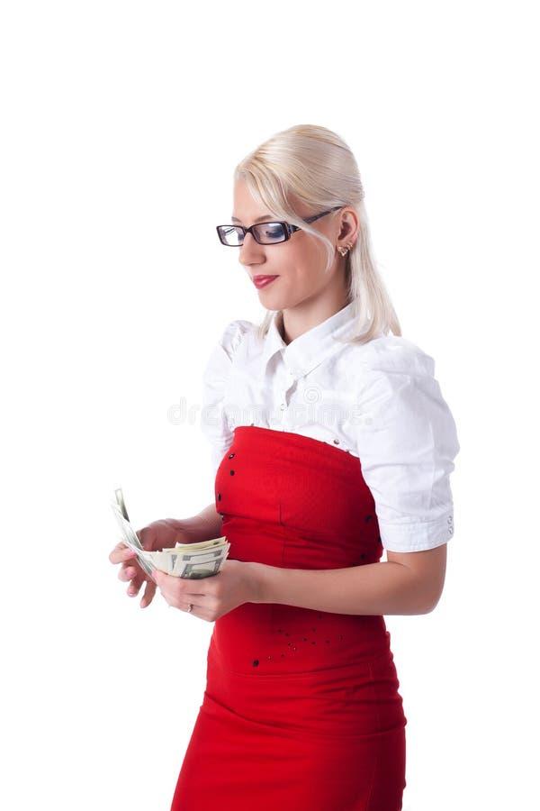 Geschäftsfrau-Zählimpulsdollar der Schönheit blonde stockbild