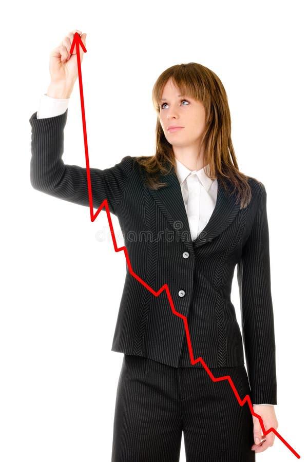 Geschäftsfrau-Zeichnungsdiagramm Stockbild - Bild von schuß, frau ...