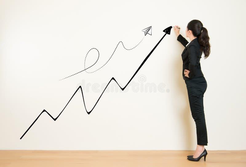 Geschäftsfrau-Zeichnungsdiagramm, das Gewinn-Wachstum zeigt stock abbildung