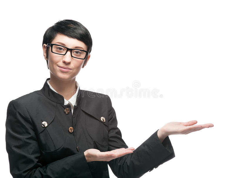 Geschäftsfrau zeigen Leerstelle an lizenzfreies stockfoto