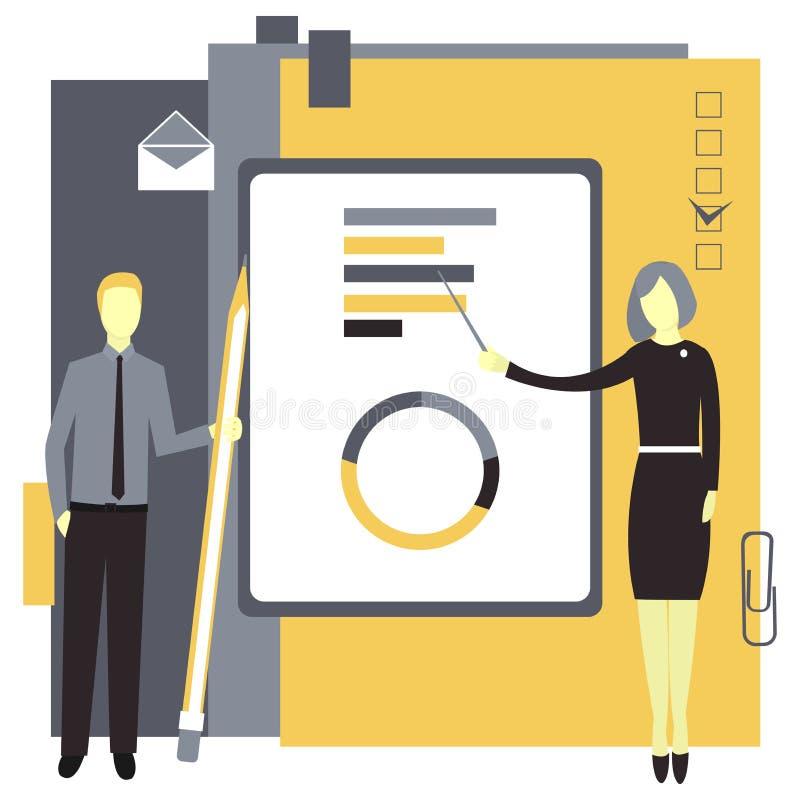 Geschäftsfrau zeigt Grafiken Geschäftsmann mit einem Bleistift Auch im corel abgehobenen Betrag stock abbildung