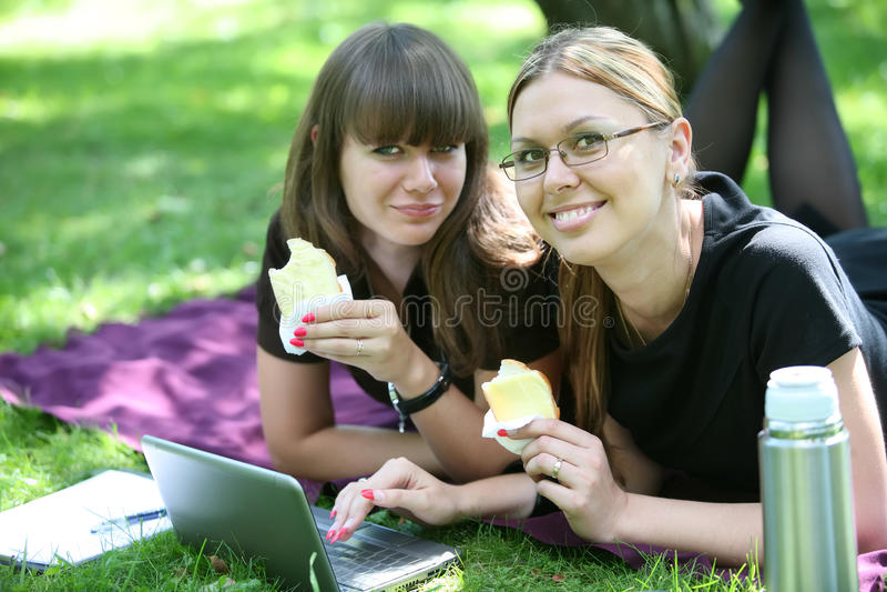 Geschäftsfrau zwei mit Laptop lizenzfreie stockbilder