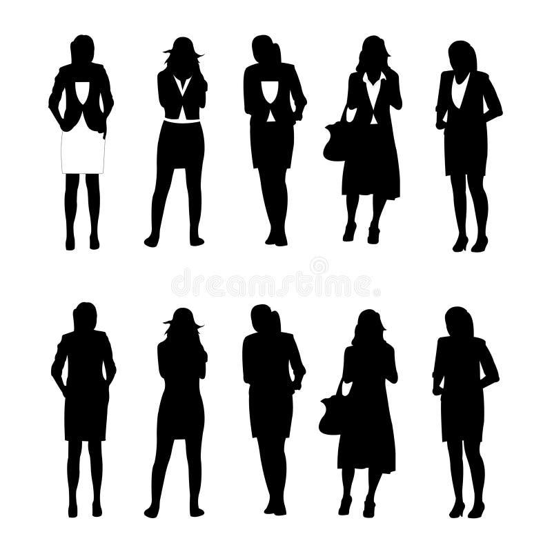 Geschäftsfrauabbildung, Schattenbild lizenzfreie abbildung