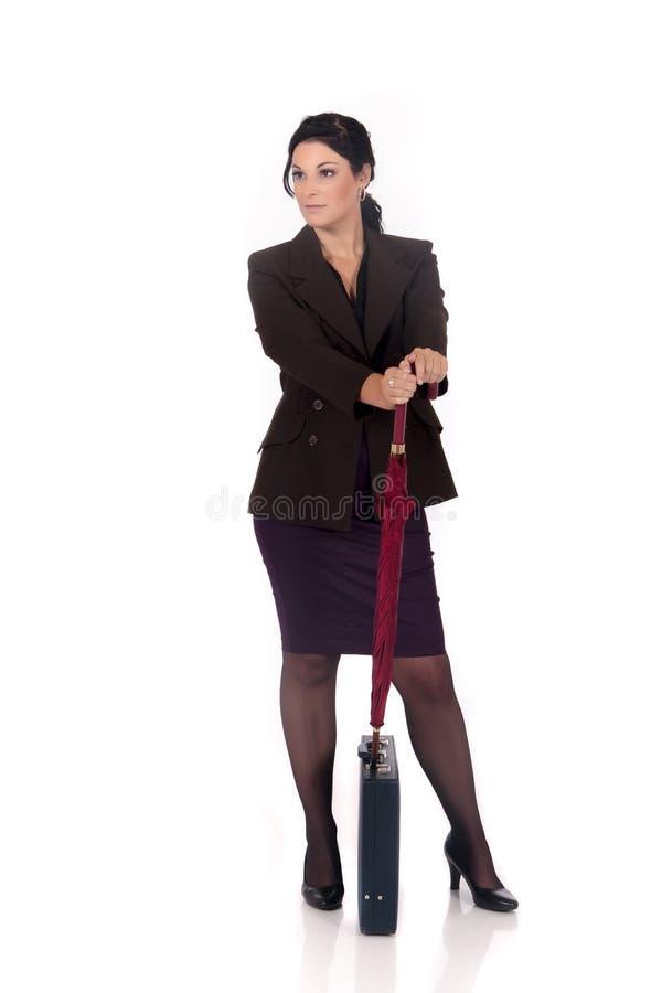 Geschäftsfrauaktenkoffer stockbild