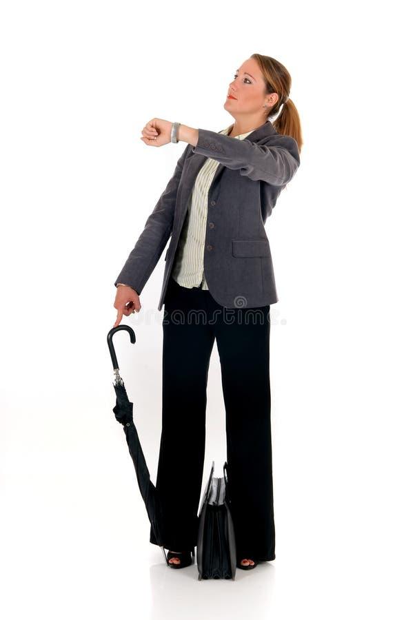 Geschäftsfrauaktenkoffer lizenzfreies stockbild