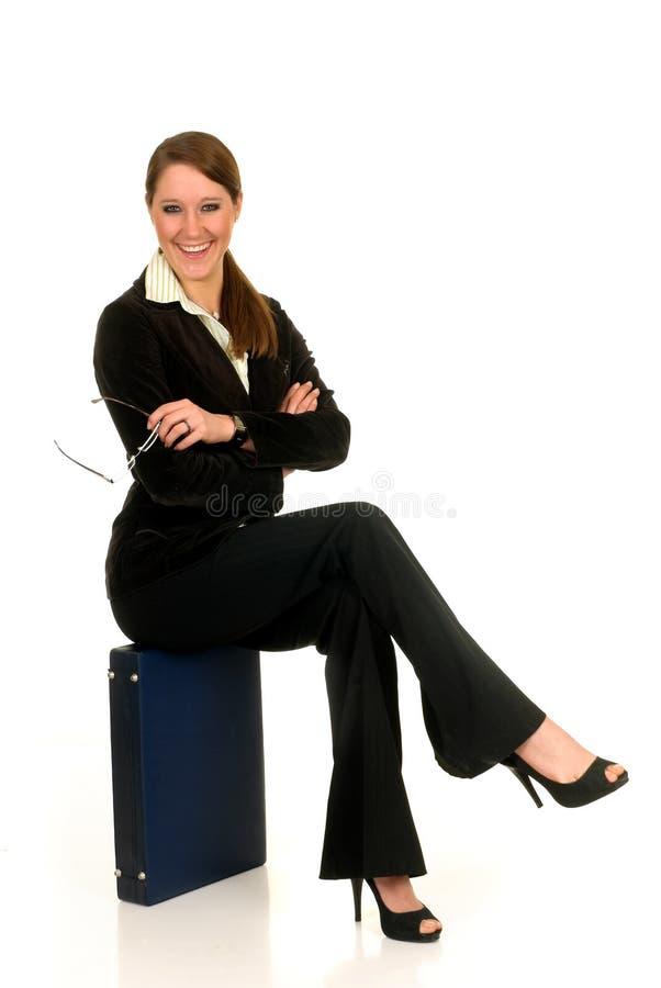 Geschäftsfrauaktenkoffer. stockfotografie