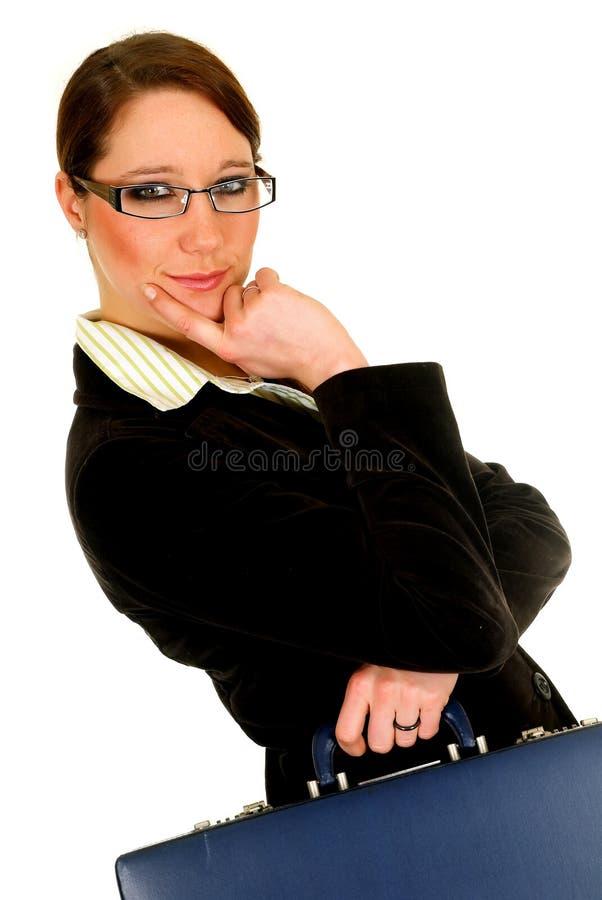 Geschäftsfrauaktenkoffer. stockfotos