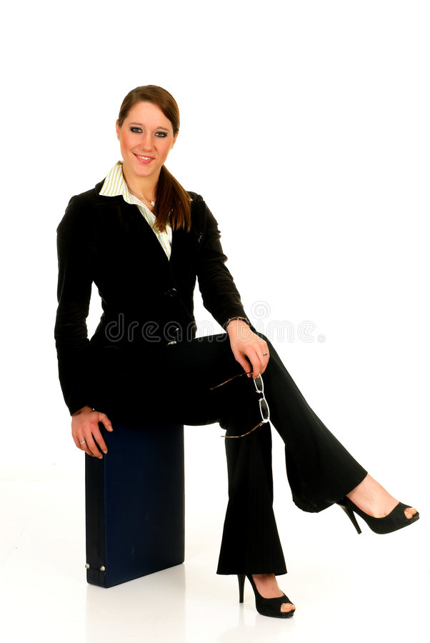 Geschäftsfrauaktenkoffer. stockfoto