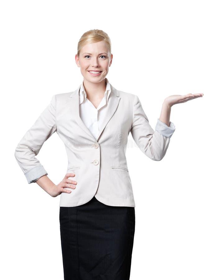 Geschäftsfrauangebote etwas stockfotografie
