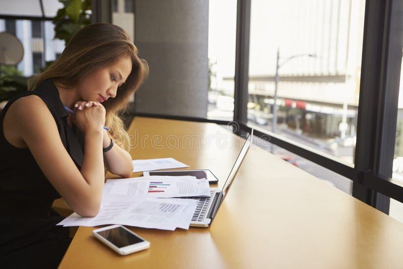 Geschäftsfrauarbeitslesedokument im Büro, Seitenansicht stockbilder