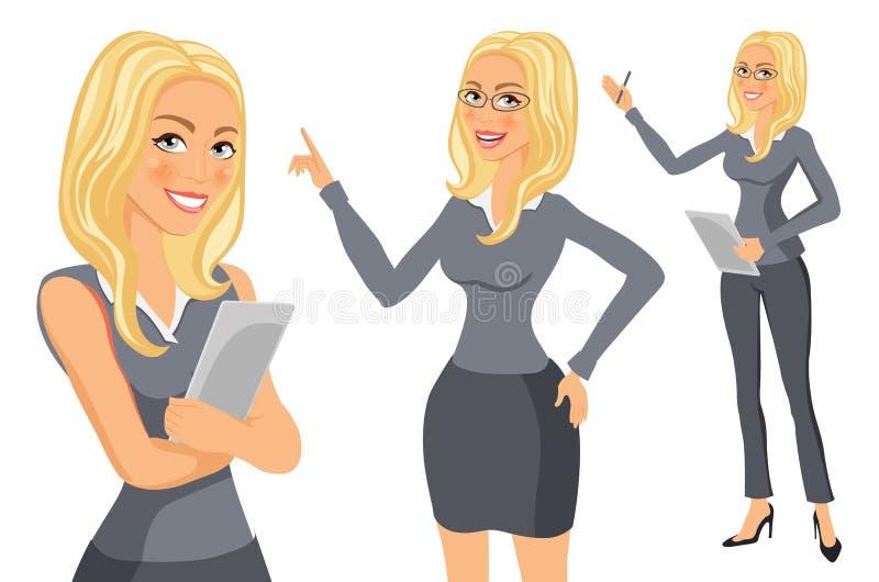 Geschäftsfraublondine Mädchen Junge Frauen im eleganten Büro kleidet Kunstvektor vektor abbildung