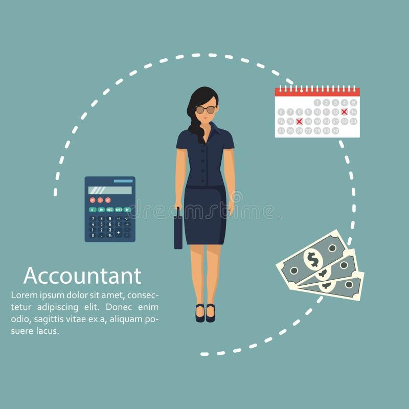 Geschäftsfraubuchhalter Konzept der Berechnung und der Buchhaltung Vektorillustration im flachen Design Frau, die mit Berichten,  stockfotografie