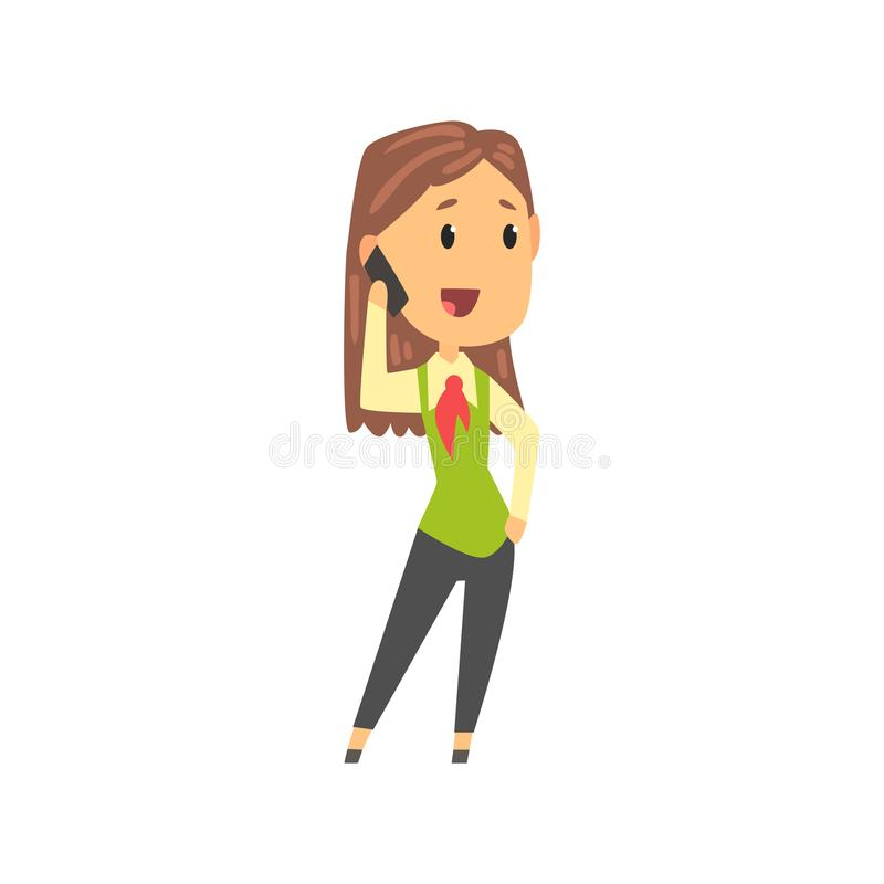 Geschäftsfraucharakter in der formellen Kleidung sprechend am Handy, Geschäftsperson an der Arbeitskarikatur-Vektorillustration lizenzfreie abbildung