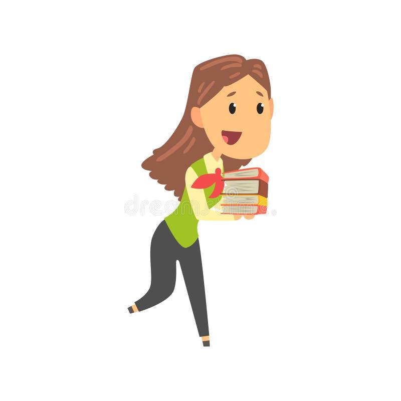 Geschäftsfraucharakter in tragendem Stapel der formellen Kleidung von Dokumentenordnern, Geschäftsperson am Arbeitskarikaturvekto vektor abbildung