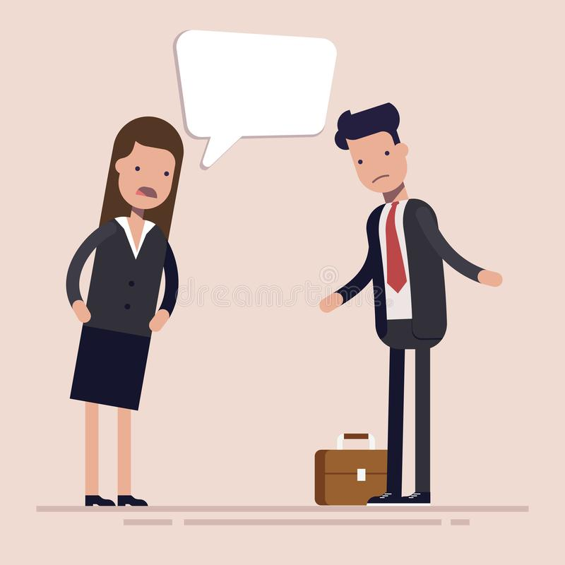Geschäftsfrauchef schreit am Mannangestellten oder -manager Geschlechterdiskriminierung an dem Arbeitsplatz Flacher Vektor vektor abbildung