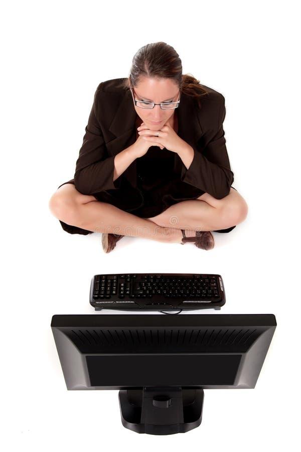 Geschäftsfraucomputer stockfotografie