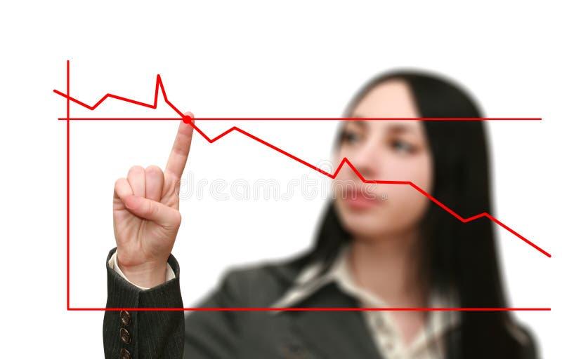 Geschäftsfraudiagramm zeigt das Wachstum stockfotos
