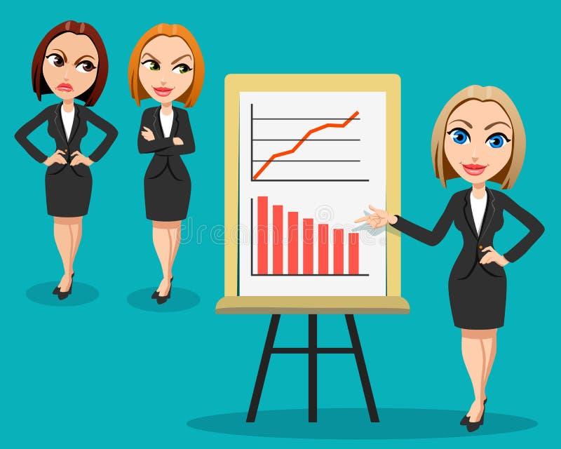 Geschäftsfrauen… und Ihr Finger ist oben lizenzfreie abbildung