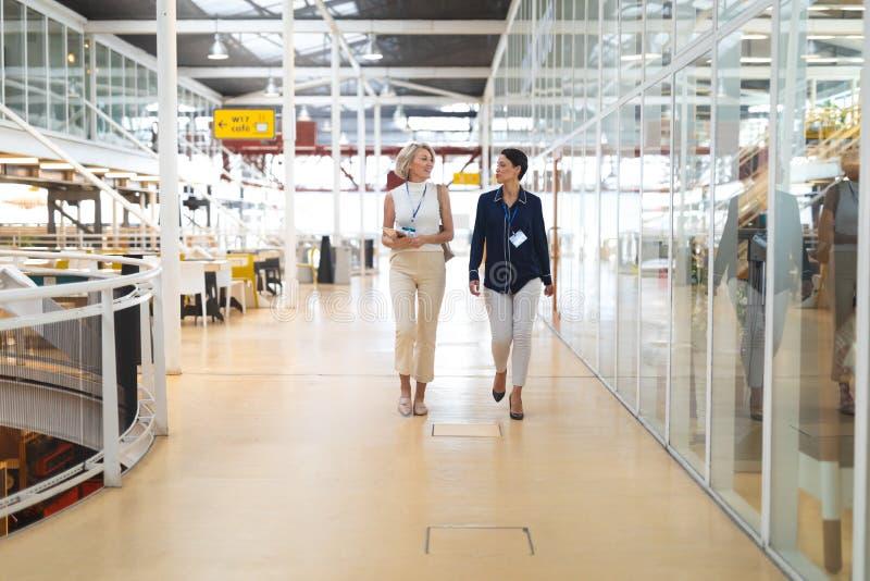 Geschäftsfrauen, die auf einander beim Gehen in ein modernes Büro einwirken stockfotografie