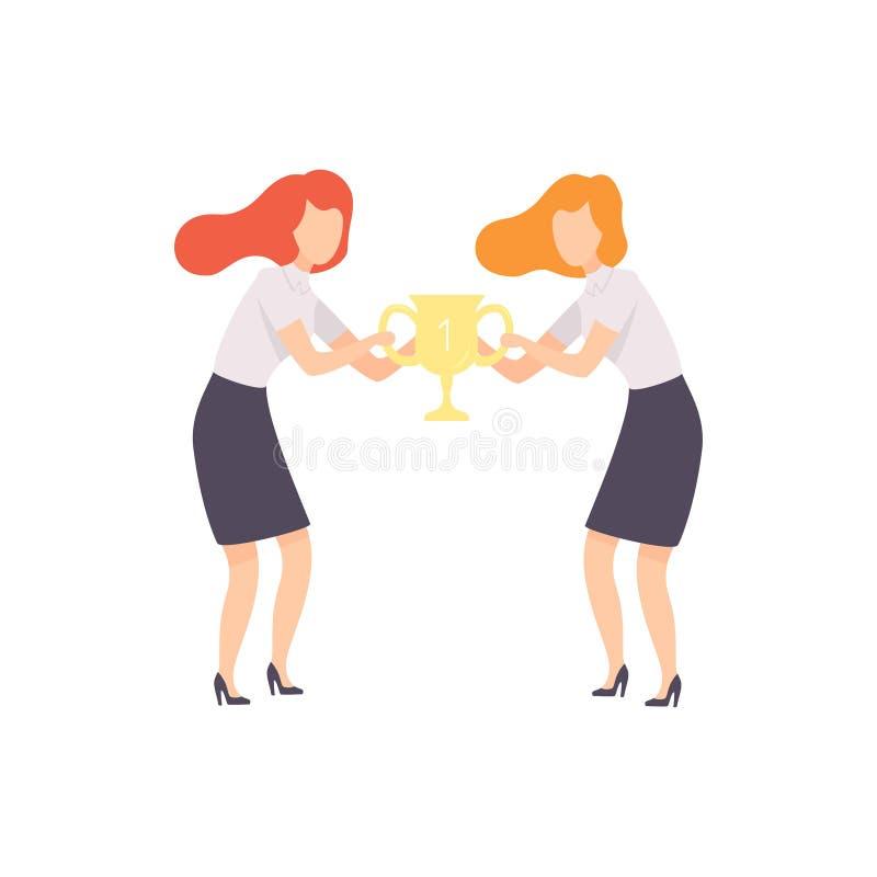 Geschäftsfrauen, die für Trophäen-Schale, Geschäfts-Wettbewerb, Rivalität zwischen Kollegen, Büroangestellt-Herausforderung kämpf lizenzfreie abbildung