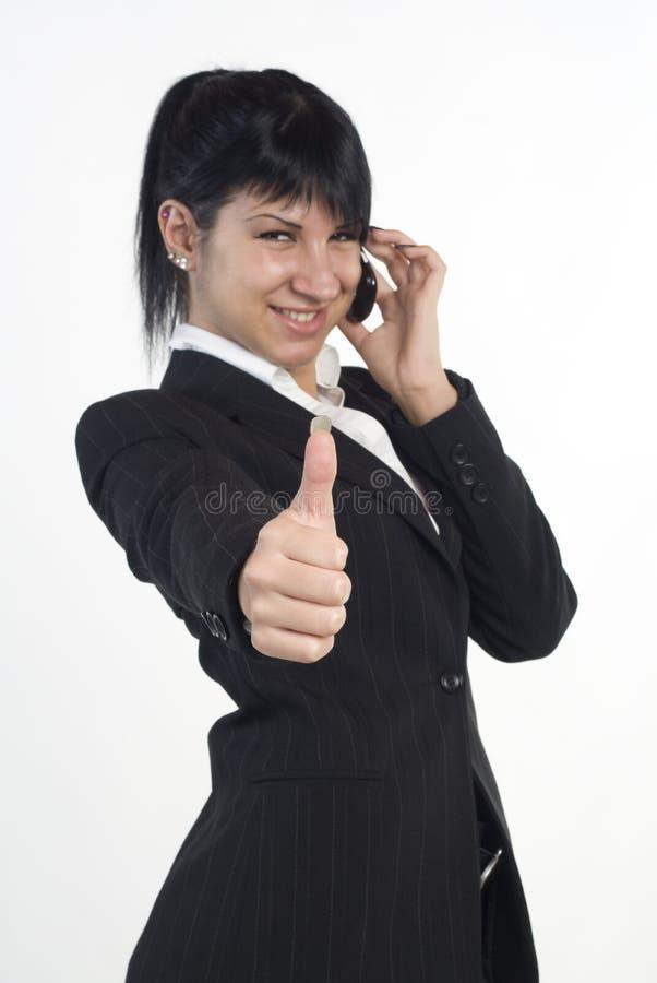 Geschäftsfrauen, die sich Daumen zeigen lizenzfreies stockfoto