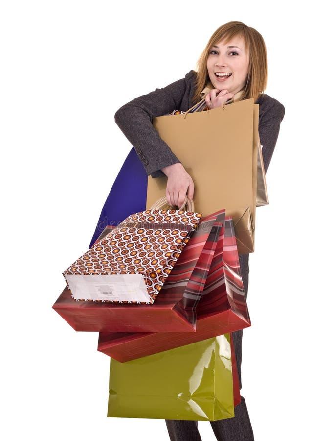 Geschäftsfrauen mit Gruppe Beuteleinkaufen. lizenzfreie stockfotos