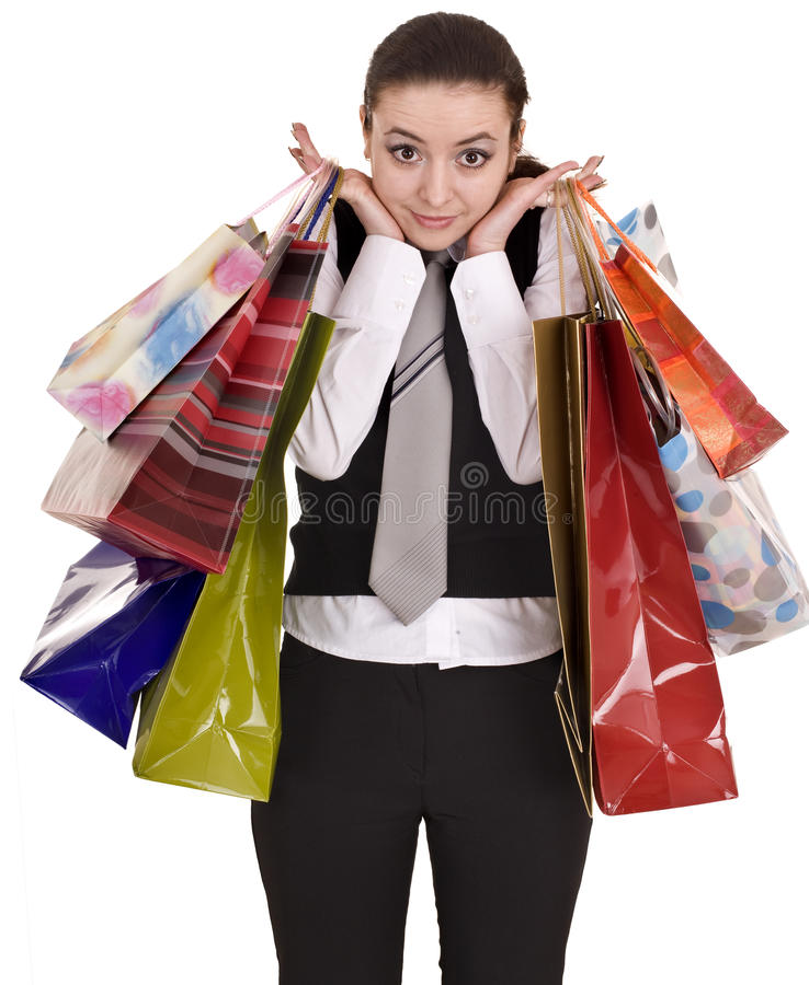 Geschäftsfrauen mit Gruppe Beuteleinkaufen. stockbilder