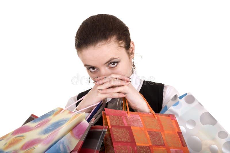 Geschäftsfrauen mit Gruppe Einkaufstasche. lizenzfreies stockbild