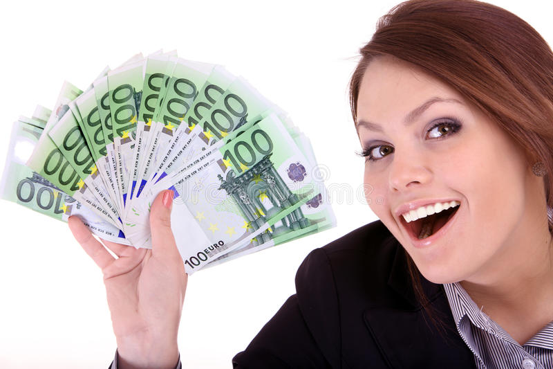 Geschäftsfrauen mit Gruppe Geld. stockfoto