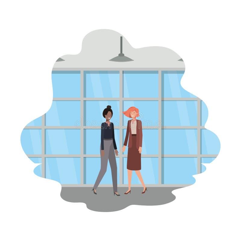 Geschäftsfrauen mit Wand- und Fensteravataracharakter vektor abbildung