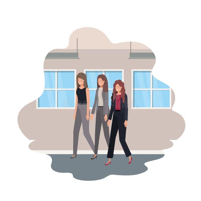 Geschäftsfrauen mit Wand- und Fensteravataracharakter stock abbildung