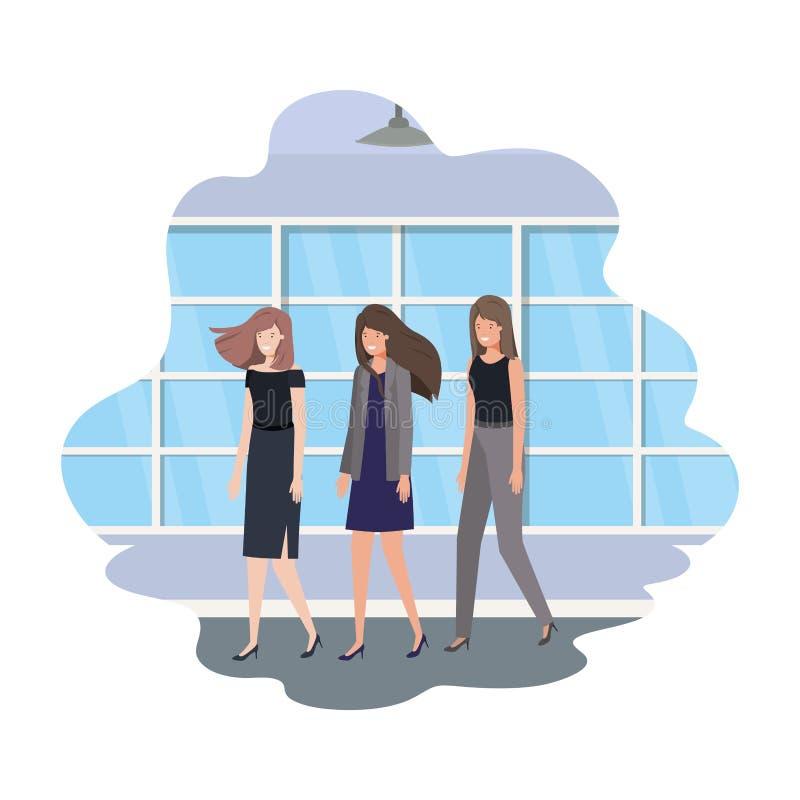 Geschäftsfrauen mit Wand- und Fensteravataracharakter lizenzfreie abbildung