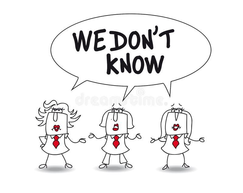 Geschäftsfrauen wissen nicht lizenzfreie abbildung