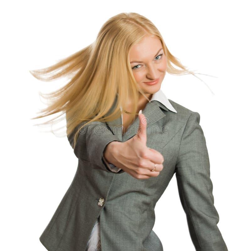 Geschäftsfrauerscheinendaumen herauf Zeichen lizenzfreies stockfoto