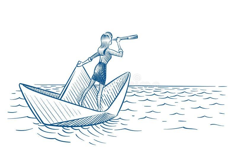 Geschäftsfrauführer Frau mit Teleskopsegeln auf Papierboot Zukünftige Karrierevision und Führungsvektorgekritzel vektor abbildung
