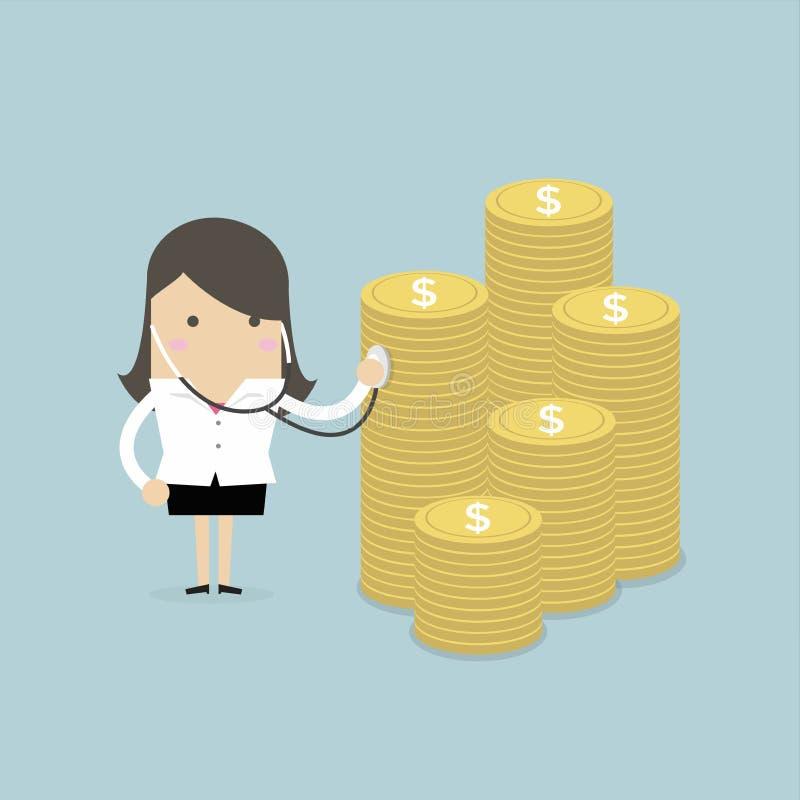 Geschäftsfraufinanzgesundheits-check mit Stethoskop lizenzfreie abbildung