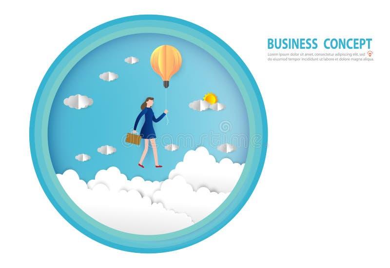 Geschäftsfraufliegen auf einem Glühlampeballon, Ziele, Erfolg, Papierkunstart, flacher Entwurf des Leutegeschäftskonzept-Vektors stock abbildung