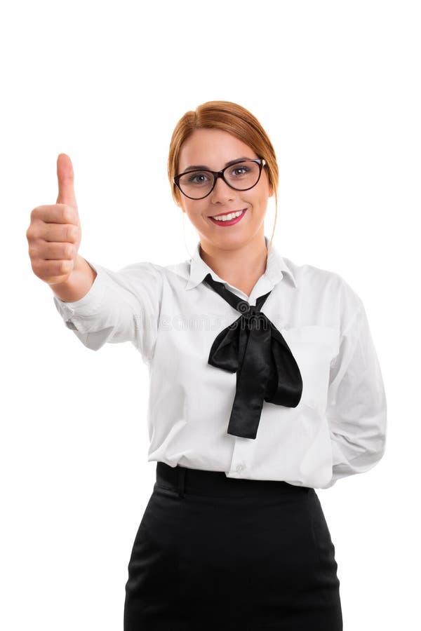 Geschäftsfraugeben Daumen oben lizenzfreie stockfotografie