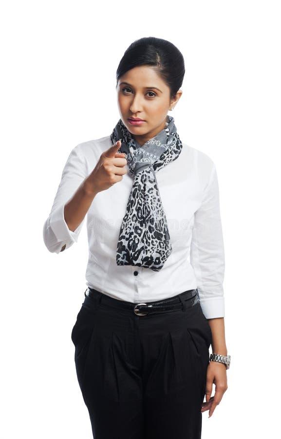 Geschäftsfraugestikulieren lizenzfreie stockbilder