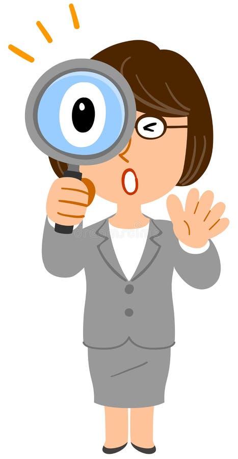Geschäftsfraugläser überrascht, um die Lupe zu untersuchen stock abbildung