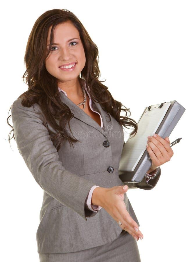 Geschäftsfrauhändedruck stockbilder