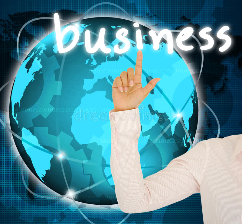 Geschäftsfrauhand mit Geschäftsknopf stockfotos