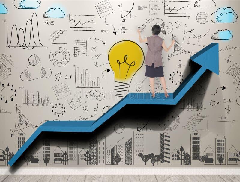 Geschäftsfrauhand schreiben neue Ideen mit Innovation lizenzfreie stockfotografie