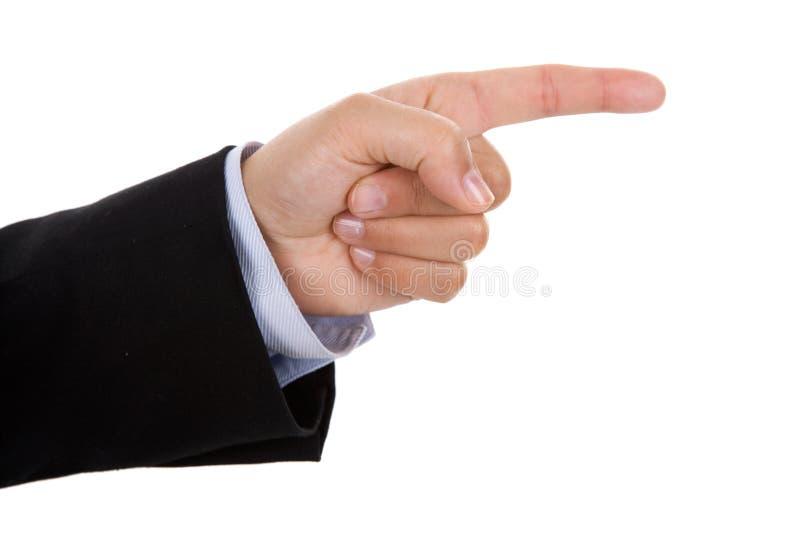 Geschäftsfrauhandzeigen lizenzfreies stockbild