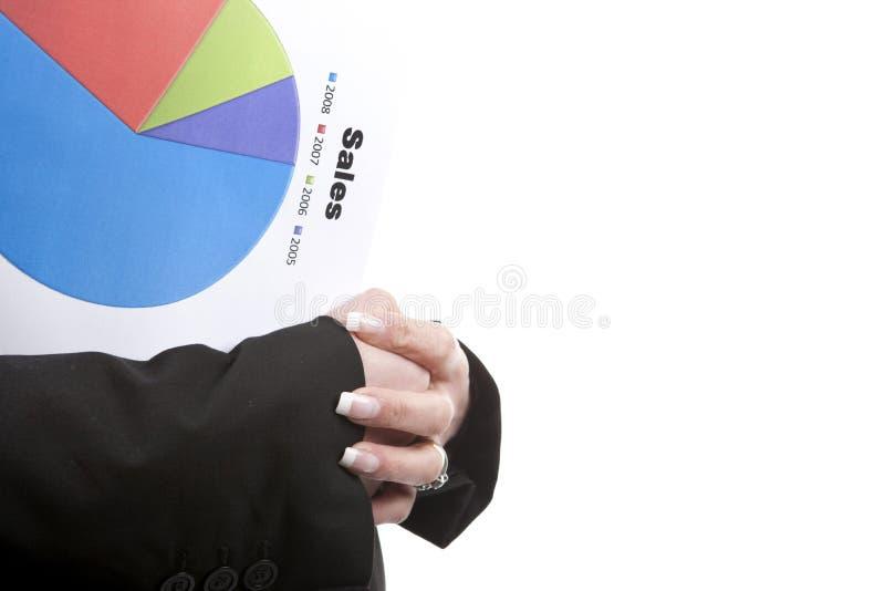 Geschäftsfrauholding-Verkaufsdiagramm in der Hand stockfoto