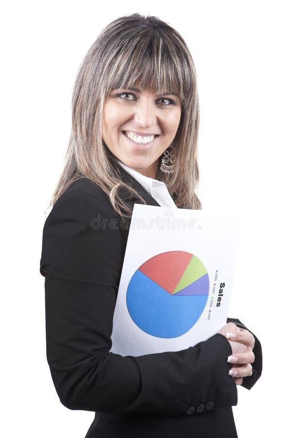 Geschäftsfrauholding-Verkaufsdiagramm in der Hand lizenzfreie stockfotografie