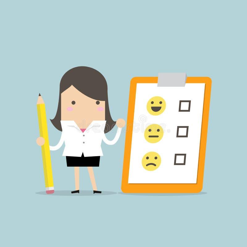 Geschäftsfrauholdingbleistift und Papier des Checklistenfeedbacks auf Klemmbrett Kunden-Bewertung Feedback Emoticons lizenzfreie abbildung